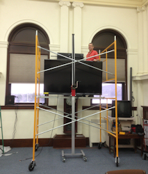 "Lift with 80"" TV installed in Courthouse"
